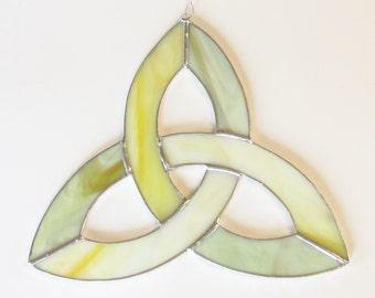 Celtic Knot, Stained Glass Suncatcher, Triquerta, Trinity Knot, Sacred Geometry, Yellow Glass, Sun Catcher, Celtic Art, Irish Symbols