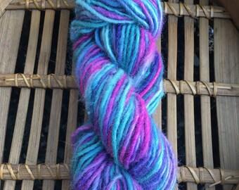 "Suri Alpaca Yarn, Single Ply Lopi, Bulky, Hand Spun, Hand-dyed, Cornflower, Blueberry, Azalea, ""Moonlight Majesty"""