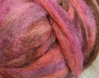 Alpaca Wool Roving, Spinning, Felting, Pink, Orange, Brown, Island Sunset