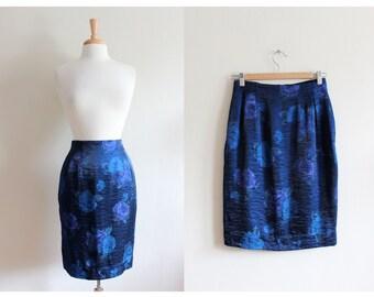 SALE Vintage Blue Shimmer Rose Print High Waist Pencil Skirt
