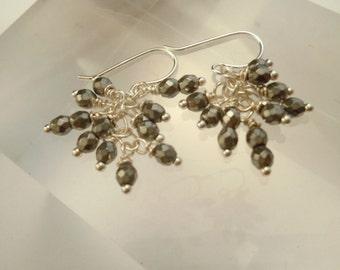 Silver pyrite dangle earrings