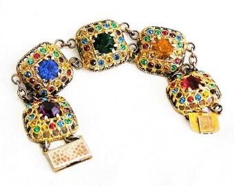 Czech Jewel Tone Gilt Bracelet Early 1900s