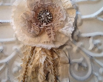 Tattered fabric and lace flower pin/brooch, hair clip, ooak