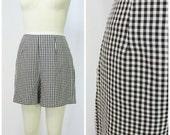 High Waisted Shorts / Vintage High Waist Shorts / Gingham Pin Up / 60s 50s Rockabilly Shorts / Original Short Shorts / Picnic Gingham Shorts