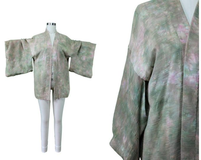 Vintage Japanese Kimono / Authentic Vintage Kimono / Festival Short Kimono / Silk Spring Summer Kimono / Festival Watercolor Print Kimono