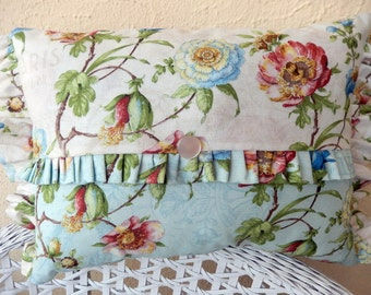 Two fabrics, Three Ruffles one Vintage Button make Shabby Chic Cottage Pillow