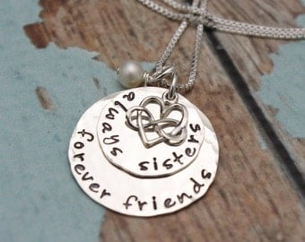 Sisters Necklace, Sister Necklace, Always Sisters, Forever Friends, Sisters Gift, Hand Stamped Sister's Jewelry, Sisters Jewelry