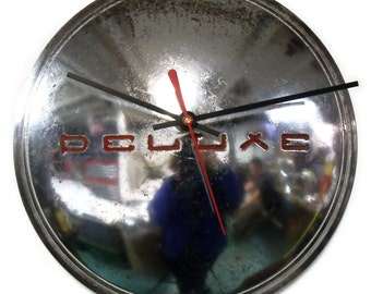 1940's Deluxe Hubcap Clock - Art Deco Classic Car Wall Decor