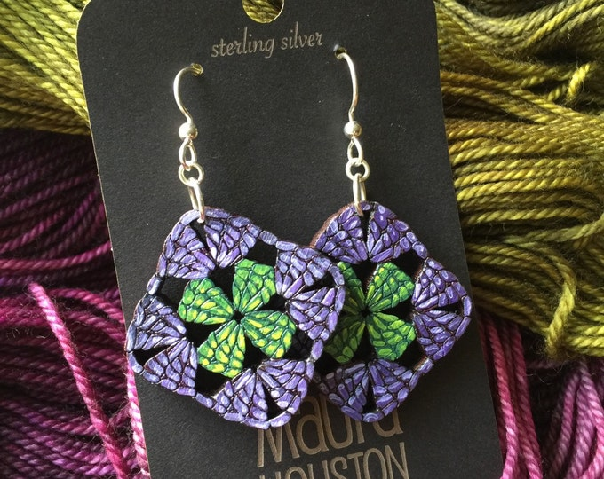Granny Square Earrings. Custom yarn colors available.