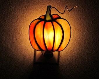 Stained Glass Pumpkin Nightlight, Autumn Nightlight, Mobile, Ornament, Art, Holiday Nightlight, Halloween Nightlight,