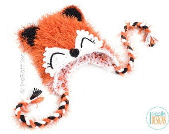 SALE - Furry Fox Hat READY to SHIP Handmade Crochet Hat for 3-5 Years
