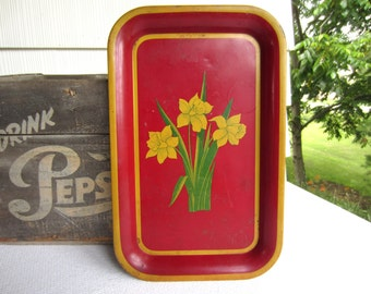 Vintage Art Deco Daffodil Metal Serving Tray Cottage Chic Red Yellow