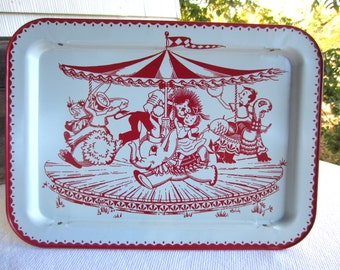 Vintage 1960s Red White Carousel Circus TV Tray Lap Tray Lavada