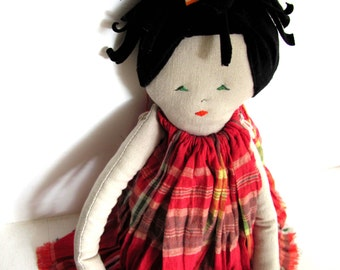 DanDan-- Doll----Child friendly---Recycled---Fabric Doll-toys- Cotton-handmade-children love--gift--under 55 USD