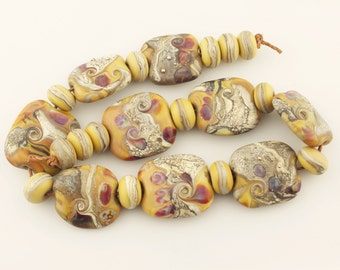 SRA Lampwork Bead Set - Etched Organic Crunch, Brown, Silver Purple Glass, Jewelry Supply 'Desert  Canyon'