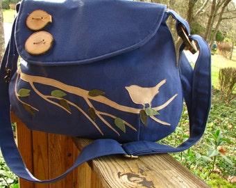 EX-Large SINGING BIRD on a Branch /Handbag/ Tote /Purse /Diaper Bag / Messenger/ Shoulder Bag/School Bag