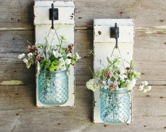 New...Rustic Chic Farmhouse Wall Decor on Distressed Painted Boards...Set of 2 Individual Hanging  Glass Hobnail Jars...Your Choice of Color