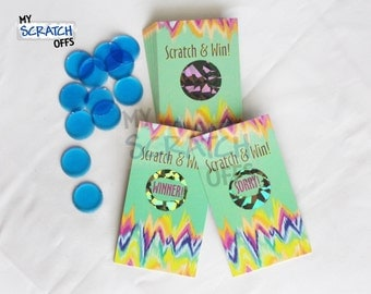 Tie Dye Scratch Off Game Cards - Multi-Color Rainbow Scratch & Win Game Card