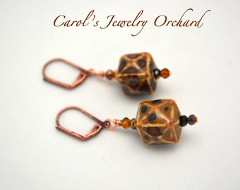 Brown Cube Earrings. Copper Leaver-back Earrings. Fall color and accessorizing. Sale for a limited time. Handmade Jewelry. One of a kind.