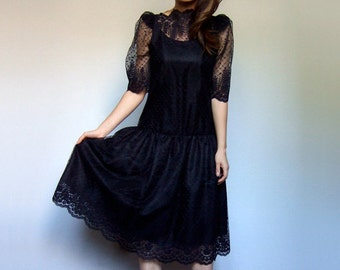 Black Lace Dress Short Sleeve Dress Vintage 80s Drop Waist Dress Lace Party Dress - Small to Medium S M