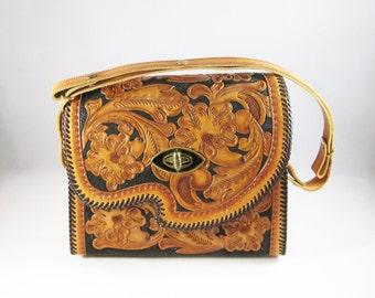 Vintage Tooled Leather Purse, Floral Boho Handbag