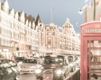 London Photography -  Bright Night in Knightsbridge, Twinkle Lights, Phone Booth, England Travel Photo, Large Wall Art, Home Decor