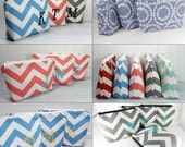 Set of 8 Personalized Makeup bag, Wedding, cosmetic bag, Chevron stripes with Initial, bride or bridesmaid gift, custom, made to order