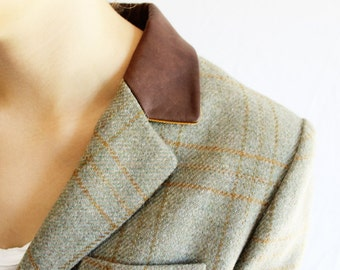 vintage plaid blazer with leather collar
