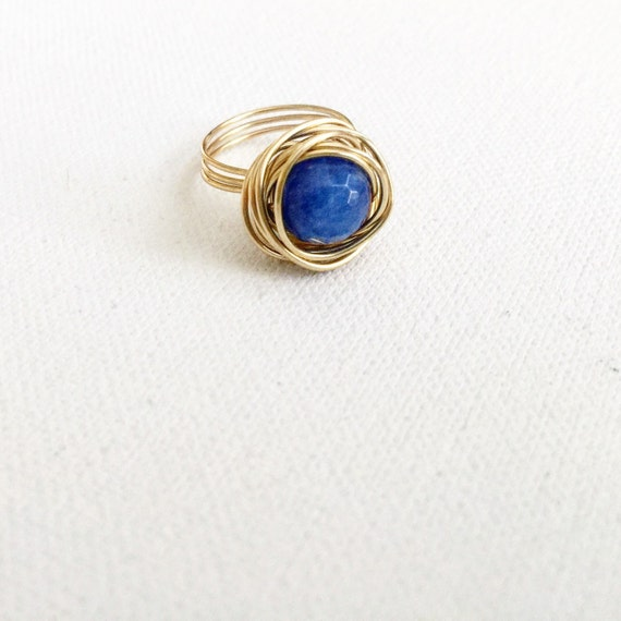 Cobalt Faceted Agate & Gold Nest Ring