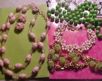 Lot Vintage 60s Necklaces Rhinestones PINKS/LIMES West Germany Lariat Bubble Beads