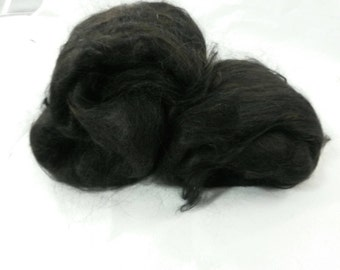 Suri Alpaca Batt, Natural Black Suri, Baby Suri Alpaca, Luxury Spinning Fiber, 4.4oz