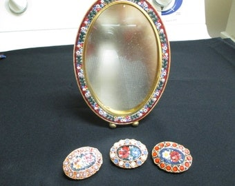 VINTAGE COSTUME JEWELRY  /  Micro mosaic frame or mirror and 3 brooches