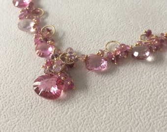 Rubellite Pink Mystic Topaz Gemstone Necklace in Gold Vermeil with Mystic Pink Quartz, Pink Tourmaline, Pink Sapphire, Spinel