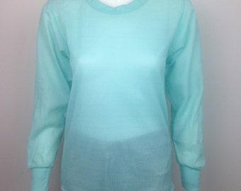 VTG 80s Sheer Sea Foam Green Blue Pastel Top Shirt Long Sleeve
