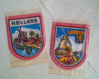 Holland souvenir - Vintage fabric badge with Dutch windmill Zaanse Schans scene - Set of 2