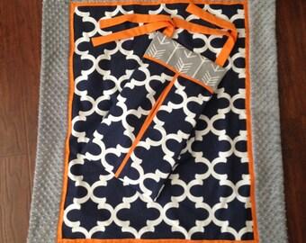 Baby blanket quilt navy quatrefoild orange and grey minky dot