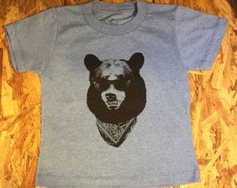 California Gangster Bear wearing Sunglasses T-Shirt 100% Cotton Toddlers Kids  2T 3T 4T