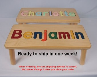 Wooden Name Puzzle Step Stool Bench - Birthday Gift - Wood - Personalized Puzzle -Kids Stool or Bench