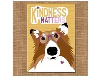 Collie Dog Magnet, Kindess Matters Magnet, Dog Fridge Magnet, Dog Lover Gift, Tie, Graduation Gift, Pet Lover Gift, Thank You Gift