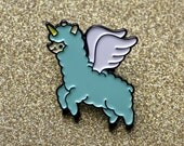 Alpacacorn enamel lapel pin mint green