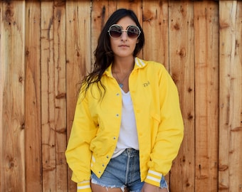 Vintage 80s Yellow Retro KERN Backhoe Service Inc ATHLETIC Bomber Windbreaker VARSITY Jacket M