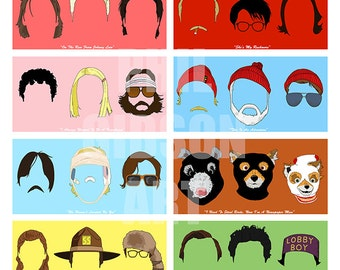 "Original Wes Anderson Faces ""Mini Cube"" Royal Tenenbaums Fantastic Fox Art Print 12"" x 12"" Poster"