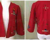 1940s Adorable Vintage Red Felt Mexican Souvenir Jacket with Pockets Donkeys Cactus Palm Tree Moon House-XS