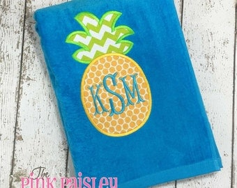 Pineapple Appliqué  Beach Towel | Monogram Towel | Preppy Beach Towel | Personalized Towel