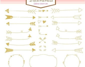 ON SALE arrow clipart, gold arrow clipart, instant download