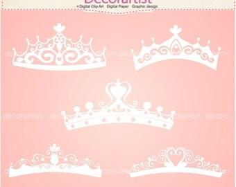 ON SALE princess clipart , tiara clipart , Silhouette Princess tiara clipart, princess,white tiara, INSTANT Download