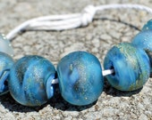 7 Ocean Blues Etched Frit Lampwork Beads SRA
