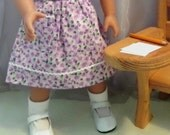 Doll Clothes - 1940s 1950s Purple Floral Drindl Skirt - 18 Inch Doll Clothes Shown On Sophia's® Doll, Shoes, Socks - 2013