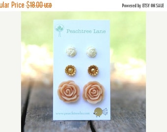MOTHERS DAY SALE Large Peach Rose Flower Earrings //  Metallic Gold Daisy Earrings // Cream Ivory Rose Earrings // Bridesmaid Earrings
