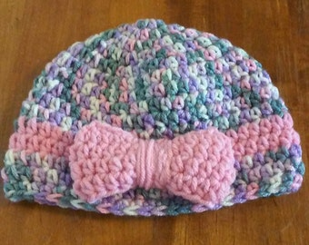 Childs Hat / Beanie / Flapper style Beanie / Gray Pink Beanie / Crochet Beanie with Bow